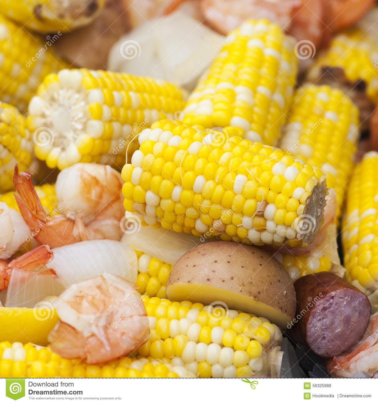 Shrimp Potatoes Corn Sausage Boil  Shrimp Boil Stock Image