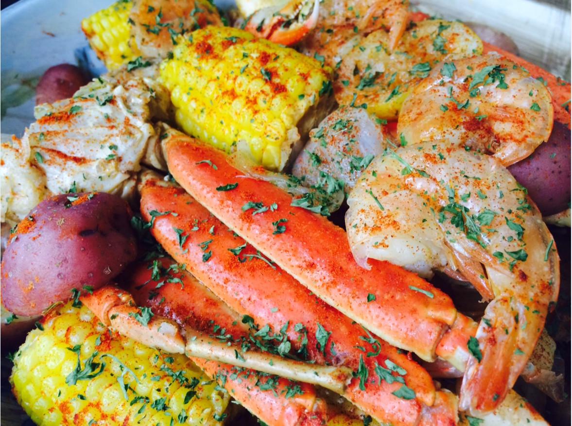 Shrimp Potatoes Corn Sausage Boil  Seafood Boil Jumbo Shrimp Crab Legs Sweet Sausage
