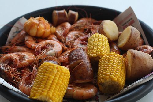 Shrimp Potatoes Corn Sausage Boil  shrimp boil with sausage corn potato and garlic