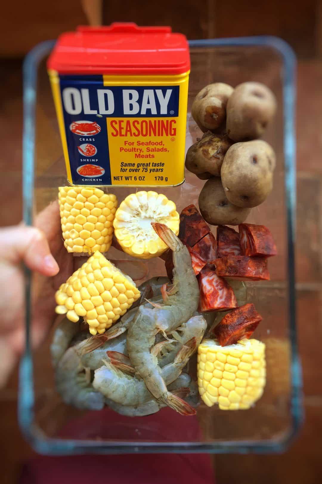 Shrimp Potatoes Corn Sausage Boil  Shrimp Boil Recipe with Old Bay Seasoning