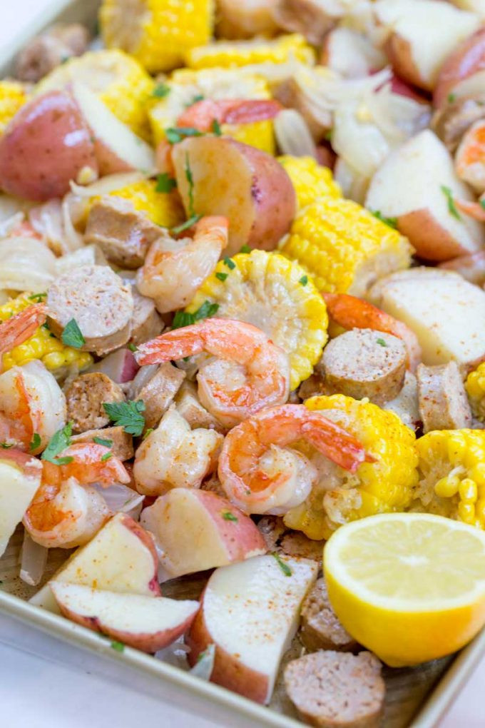 Shrimp Potatoes Corn Sausage Boil  Easy Shrimp Boil Dinner then Dessert