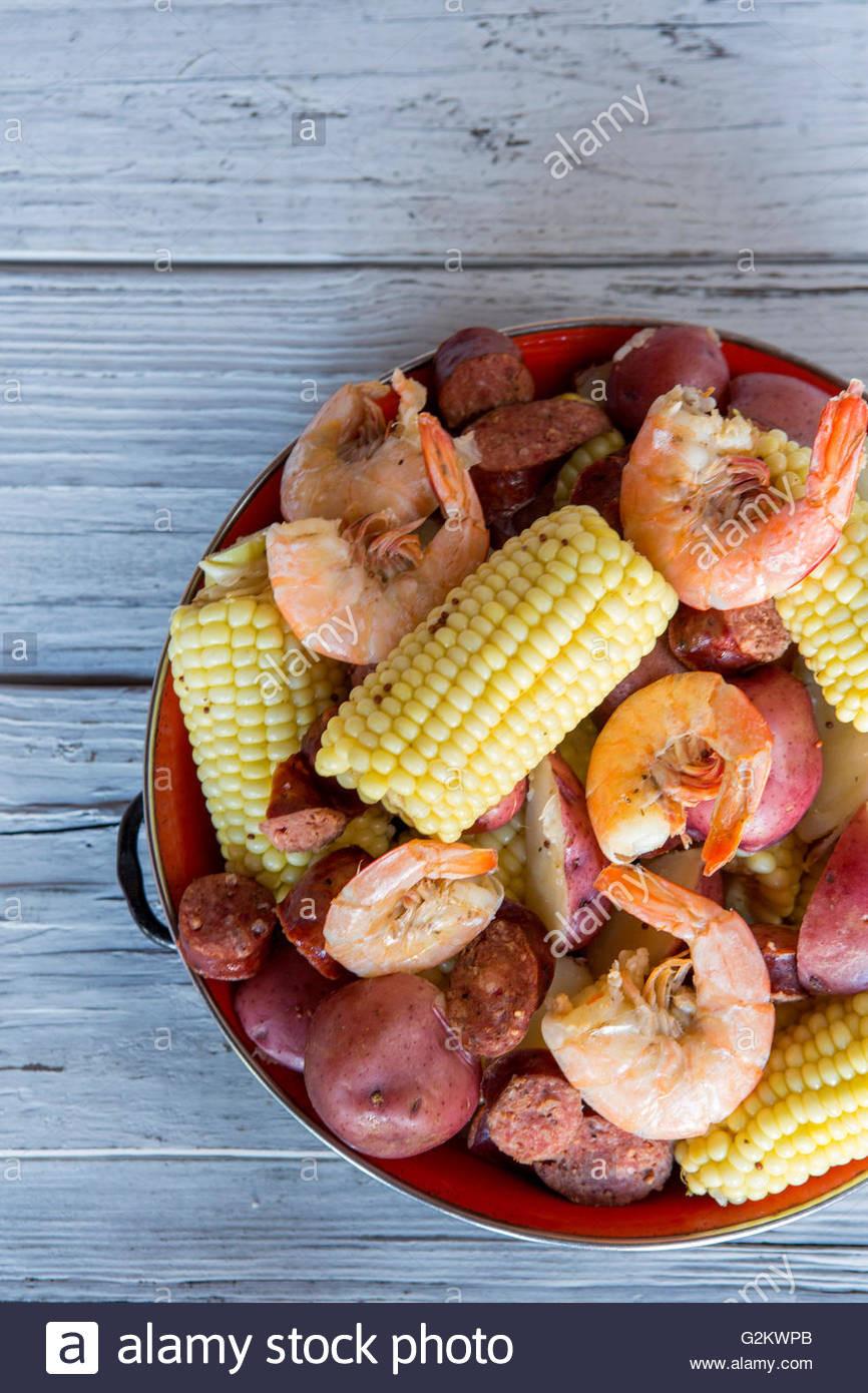 Shrimp Potatoes Corn Sausage Boil  Low Country Boil with Shrimp Corn Sausage and Potatoes