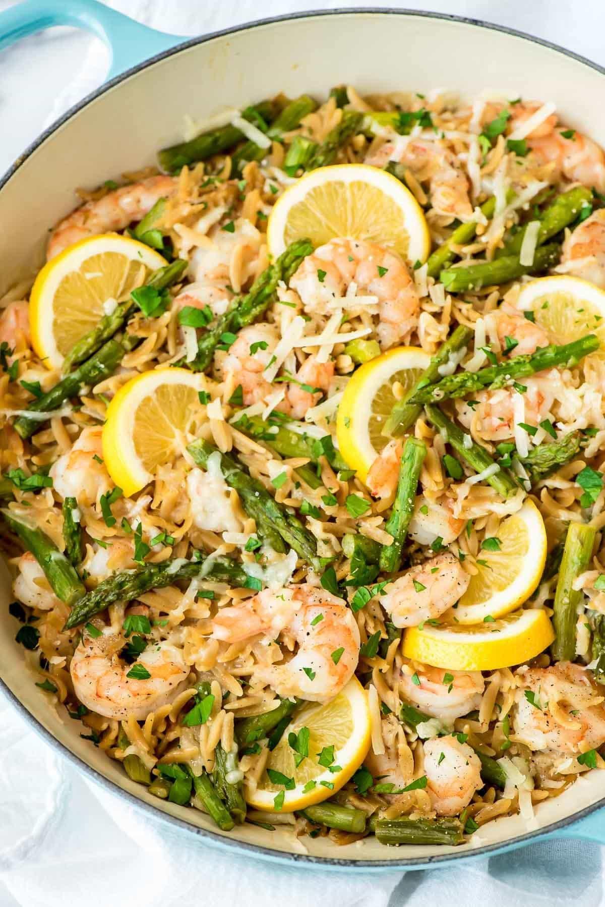 Shrimp Recipes With Pasta  Lemon Shrimp Pasta with Orzo and Asparagus