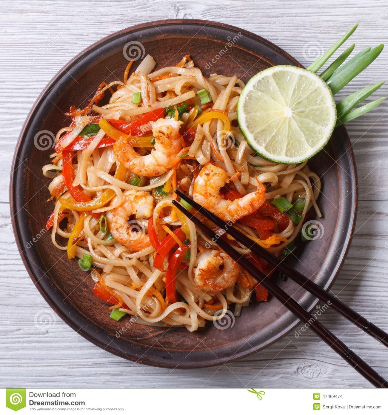 Shrimp Rice Noodles  Delicious Rice Noodles With Shrimp And Ve ables Top View