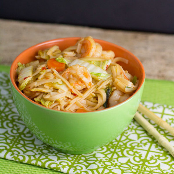 Shrimp Rice Noodles  Spicy Rice Noodle Recipe with Shrimp and Cabbage