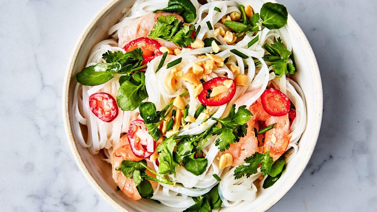 Shrimp Rice Noodles  Rice Noodles with Shrimp and Coconut Lime Dressing Recipe
