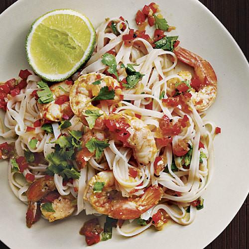 Shrimp Rice Noodles  Rice Noodles with Shrimp and Cilantro FineCooking
