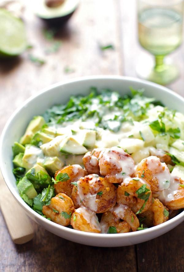 Shrimp Salad Dressing  Shrimp and Avocado Salad with Miso Dressing Recipe Pinch