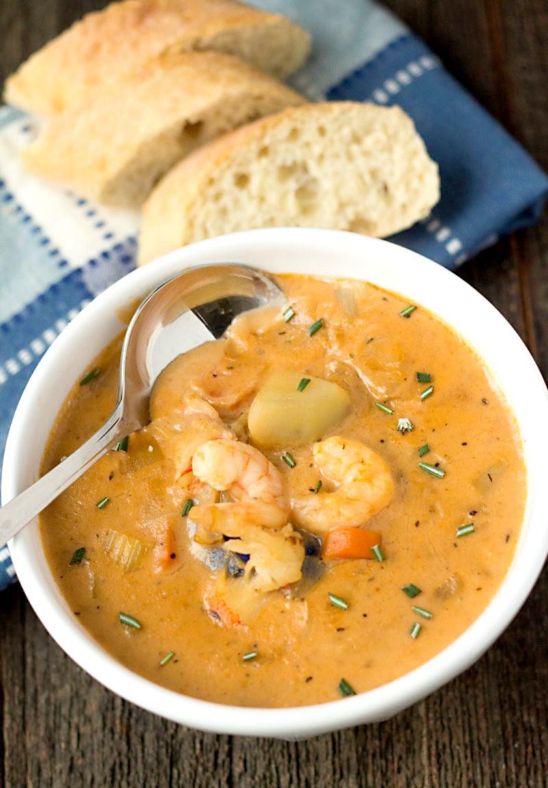 Shrimp Soup Recipes  Creamy Seafood Chowder w Homemade Seafood Stock ⋆ Its Yummi