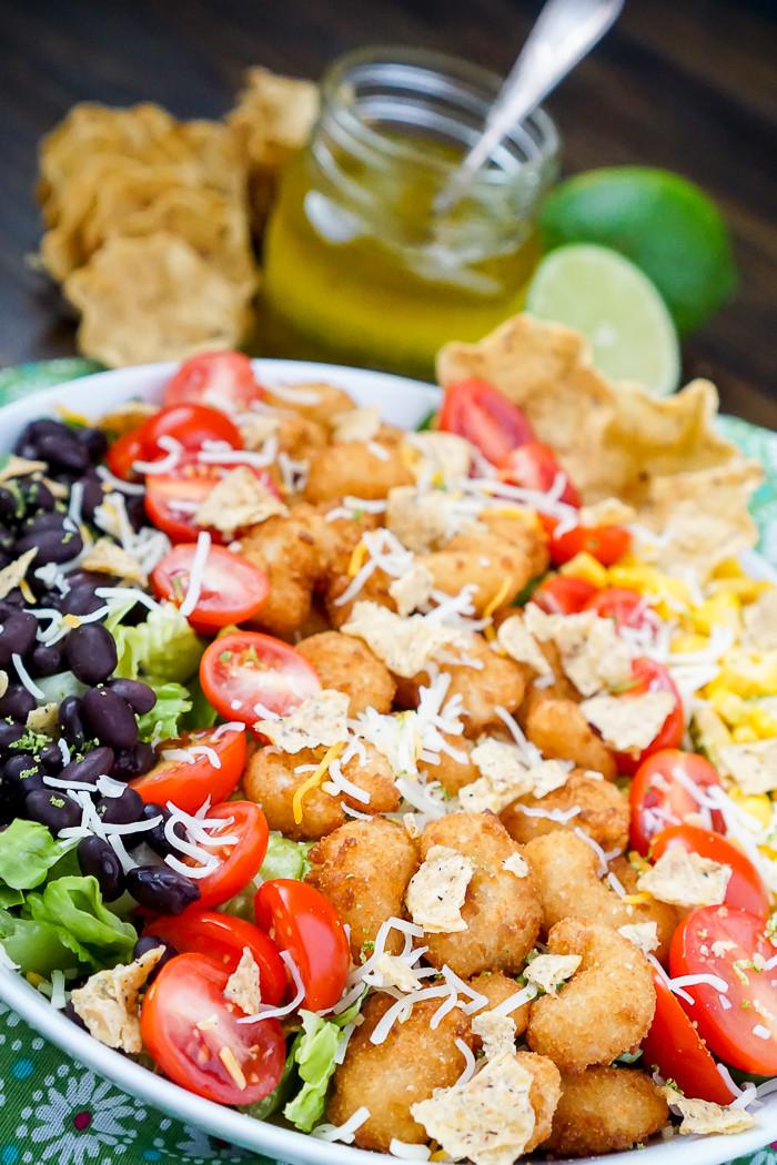 Shrimp Taco Salad  Crispy Shrimp Taco Salad with Honey Lime Vinaigrette The