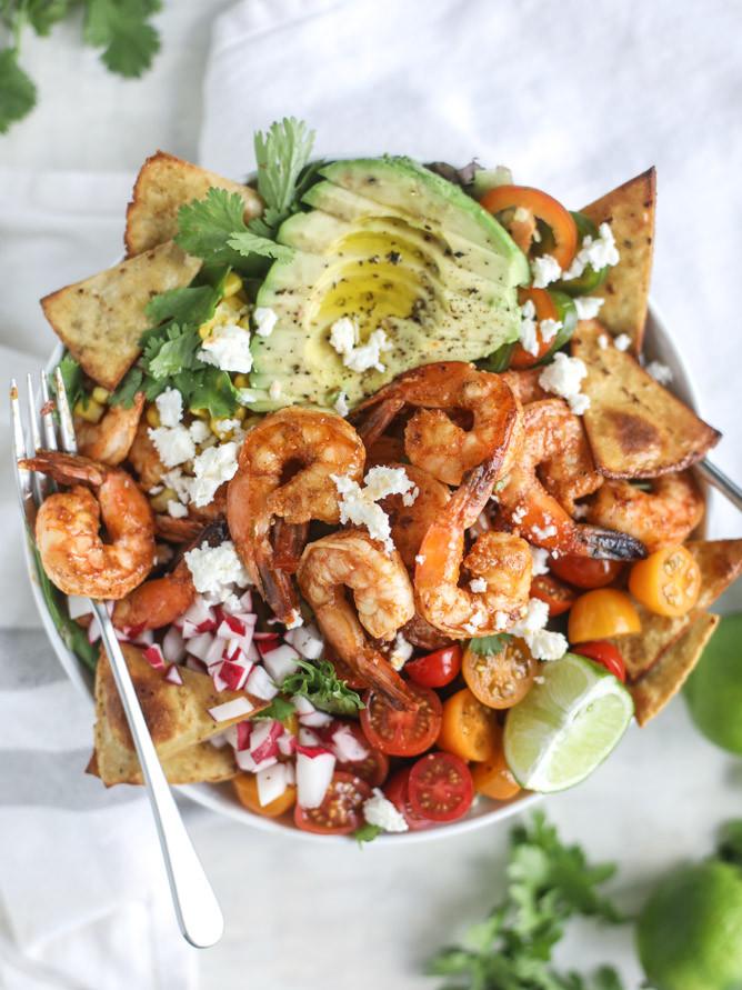 Shrimp Taco Salad  Tequila Shrimp Taco Salad How Sweet Eats