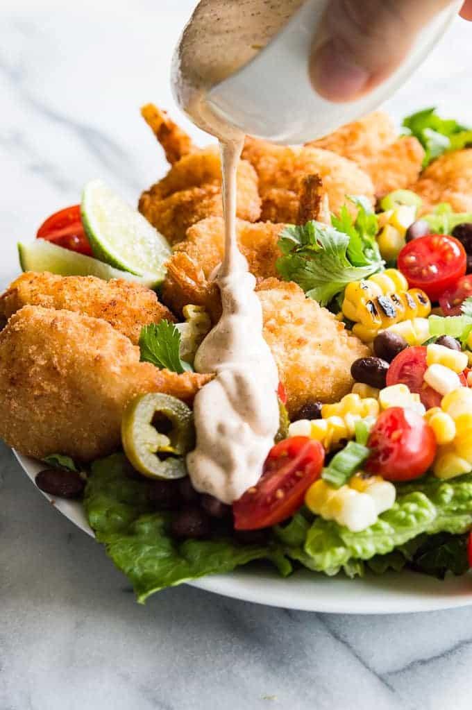 Shrimp Taco Salad  Shrimp Taco Salad with Southwestern Dressing