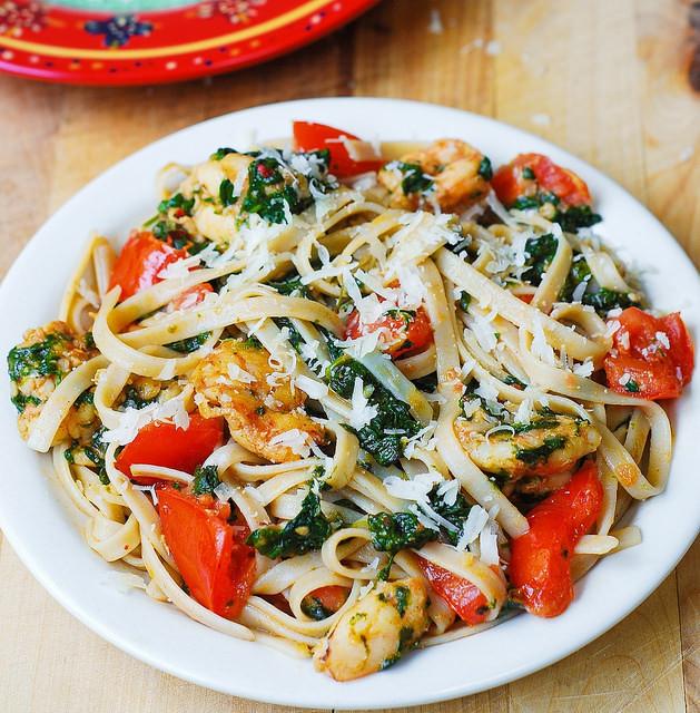 Shrimp Tomato Pasta  Shrimp tomato and spinach pasta in garlic butter sauce