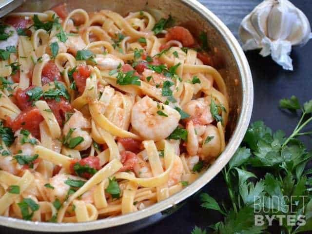 Shrimp Tomato Pasta  Spicy Shrimp Tomato Pasta Bud Bytes