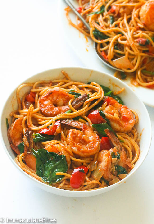 Shrimp Tomato Pasta  Spicy shrimp tomato spinach pasta