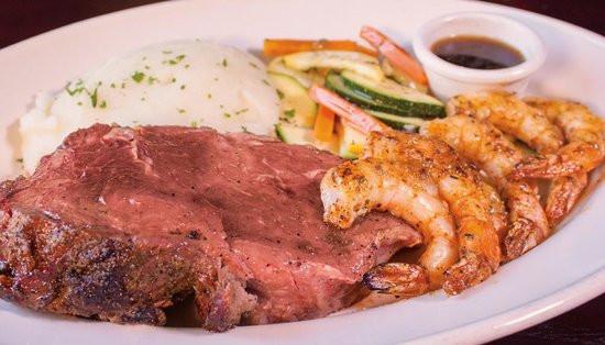 Shrimps And Prime Rib  Prime Rib & Oak Grilled Shrimp