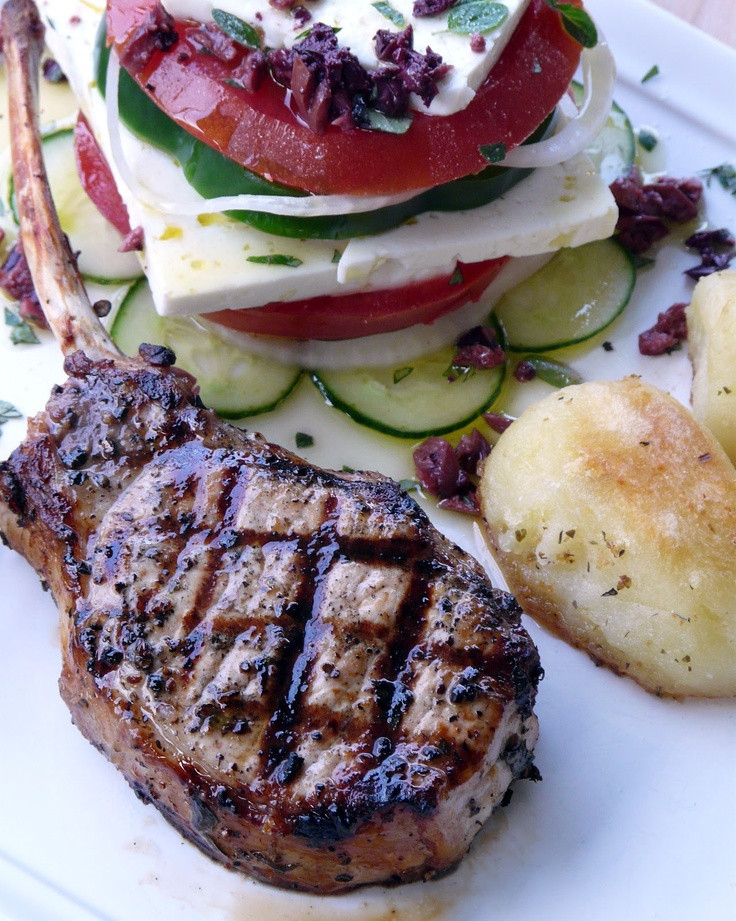 Side Dishes For Grilled Pork Chops  Grilled Pork Chops with traditional Greek Sides Roasted