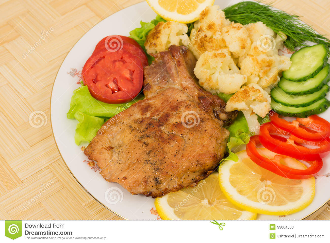 Side Dishes For Grilled Pork Chops  Grilled Pork Chop With A Side Dish Cauliflower And
