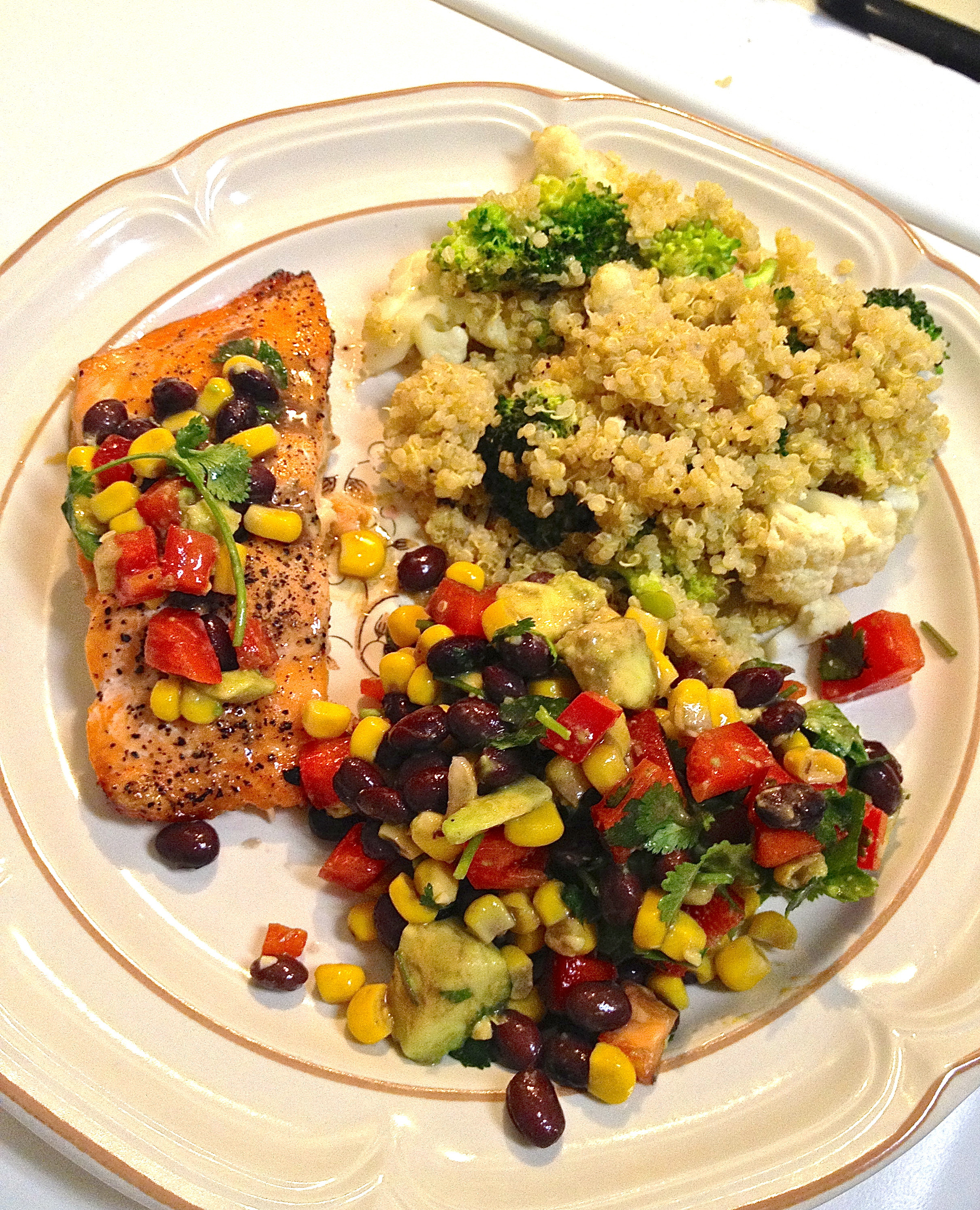 Side Dishes For Salmon  grilled salmon with black bean and corn salsa