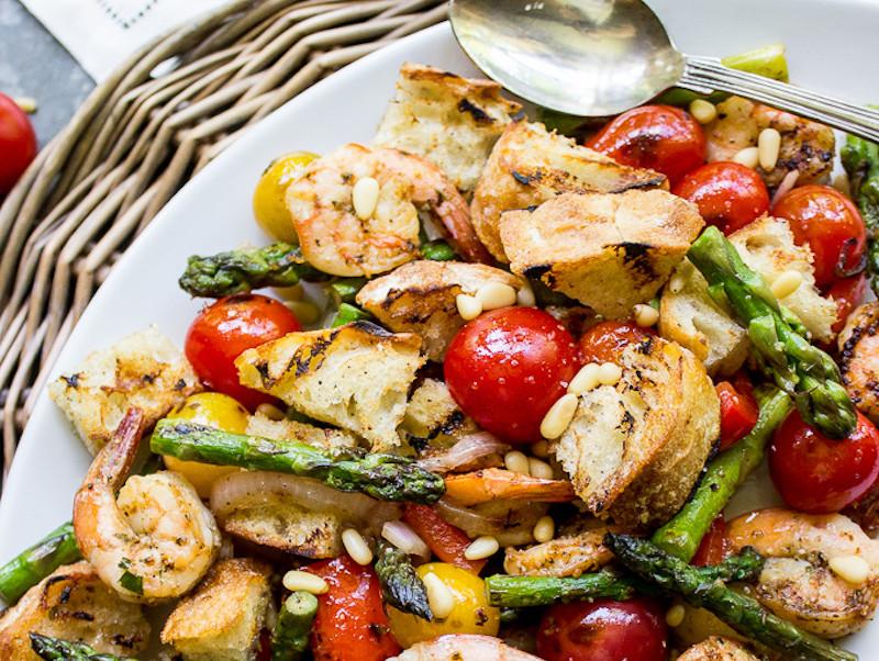 Side Dishes For Shrimp  Grilled Panzanella Shrimp Salad – Honest Cooking