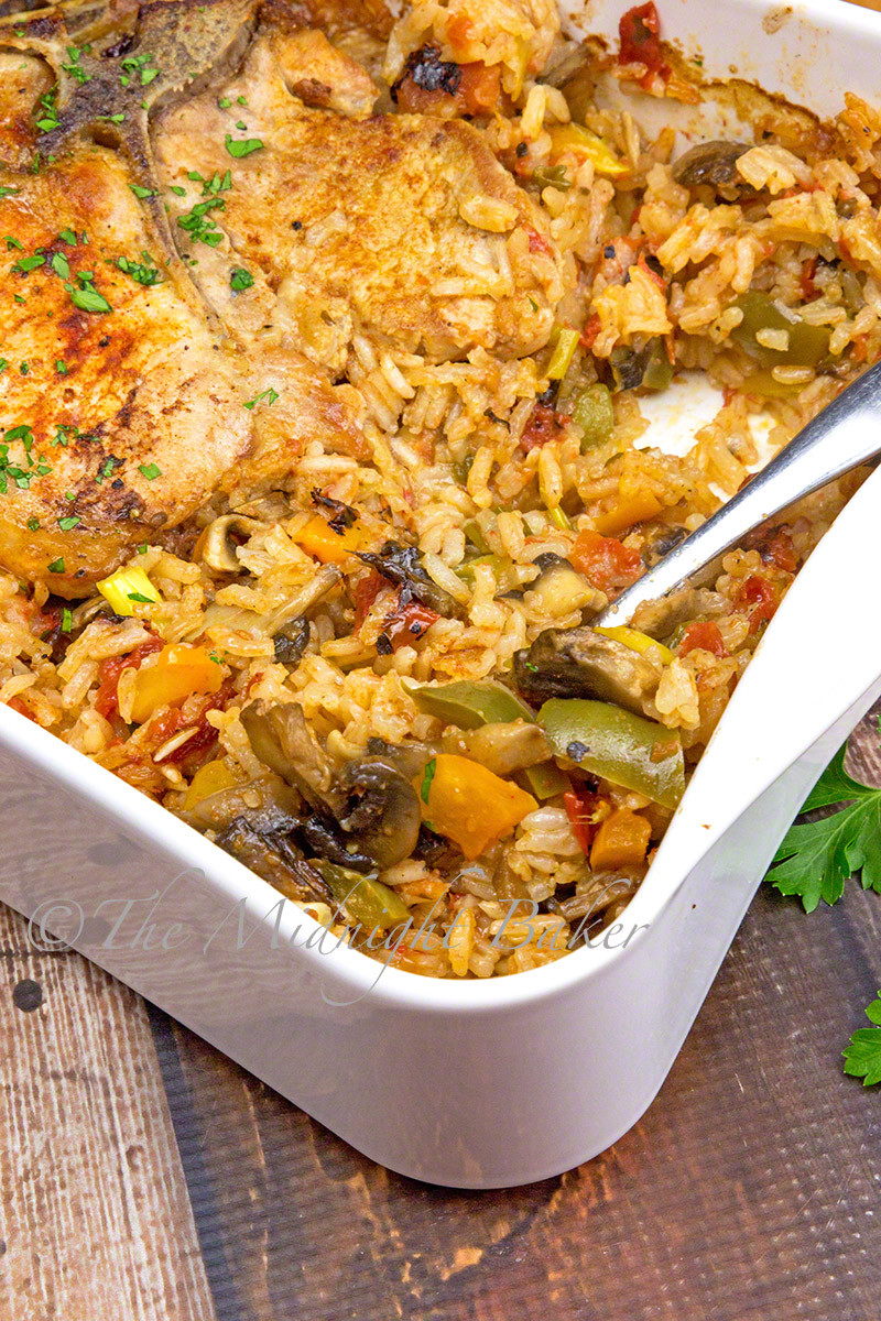 Sides With Pork Chops  Pork Chops with Loaded Ve able Rice The Midnight Baker