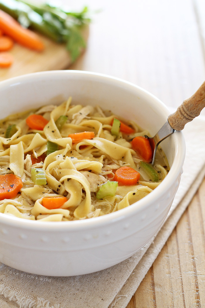 Simple Chicken Noodle Soup  Quick and Easy Chicken Noodle Soup Love Grows Wild