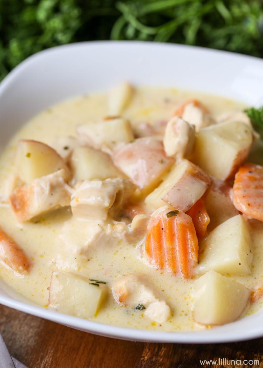 Simple Chicken Stew Recipe  Creamy Crock Pot Chicken Stew Recipe