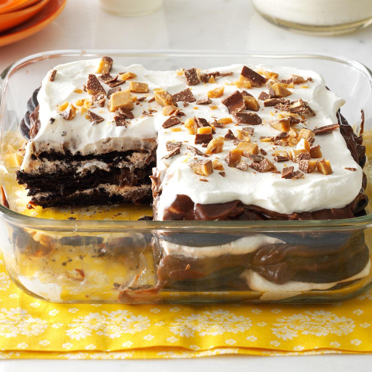Simple Chocolate Dessert  Double Chocolate Toffee Icebox Cake Recipe