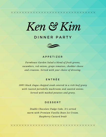 Simple Dinner Party Menu  Simple Gra nt Dinner Party Menu Templates by Canva