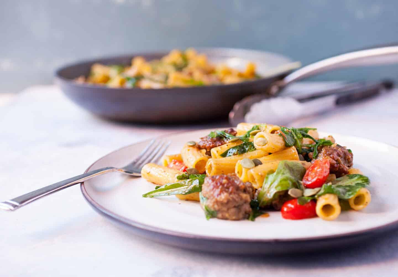 Simple Italian Recipes  Easy Pesto Pasta with Sausage Recipe Macheesmo