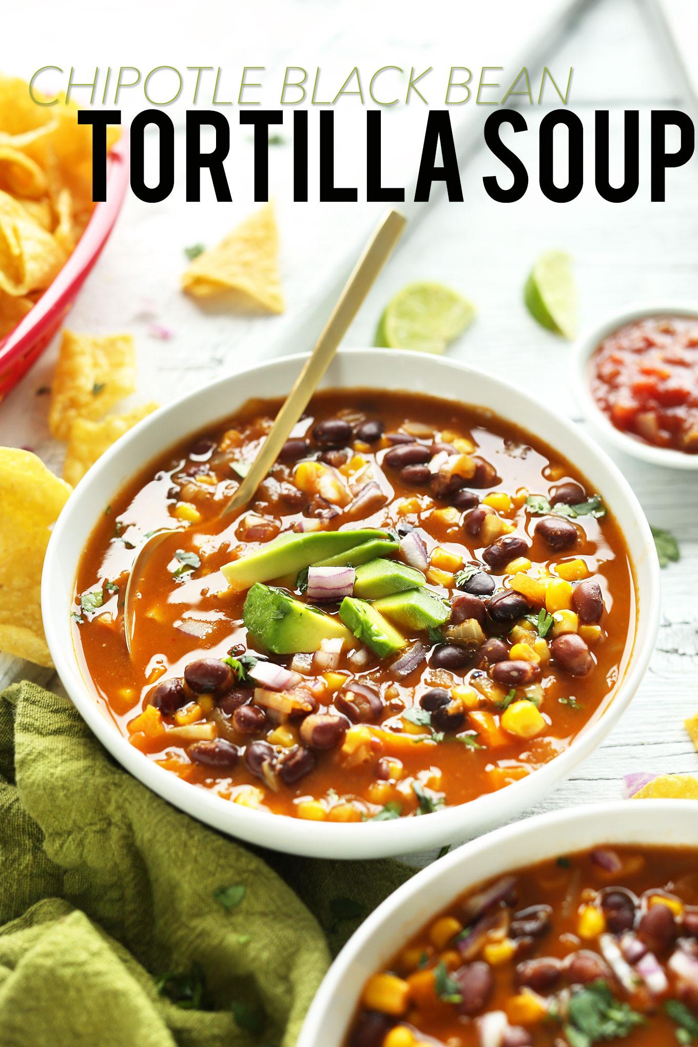 Simple Vegan Recipes  Black Bean Tortilla Soup