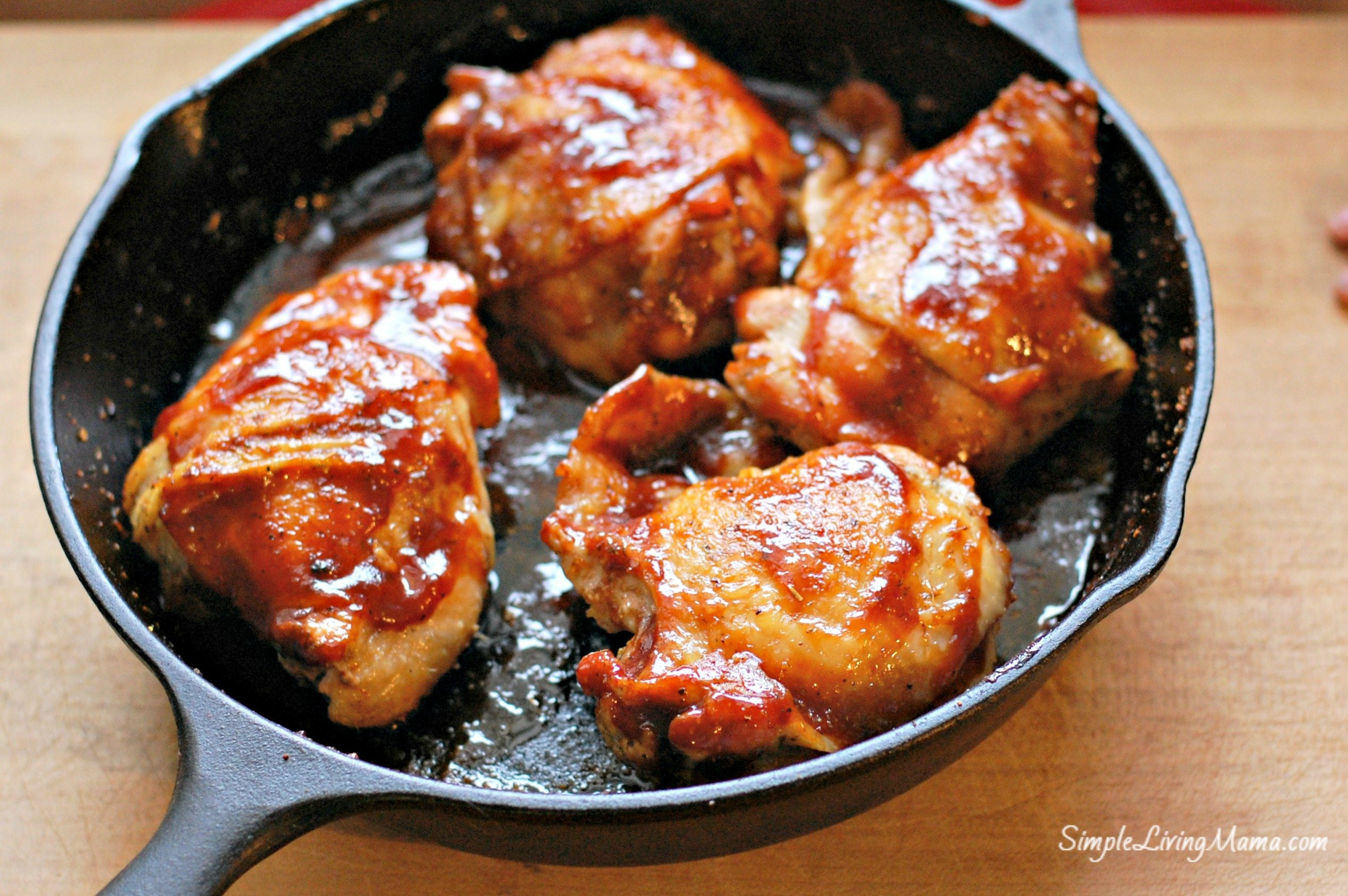 Skillet Chicken Thighs  Skillet BBQ Chicken Thighs Simple Living Mama