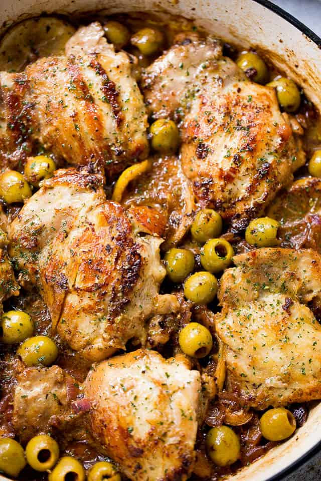 Skillet Chicken Thighs  Saucy Skillet Chicken with Lemons & Olives