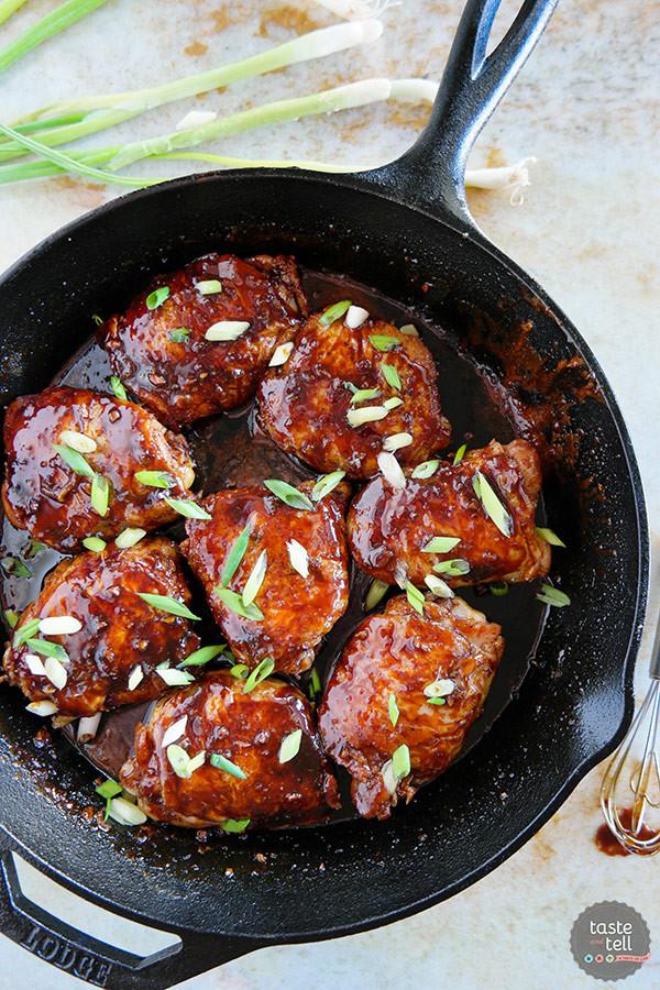 Skillet Chicken Thighs  Cast Iron Teriyaki Chicken Thighs Taste and Tell