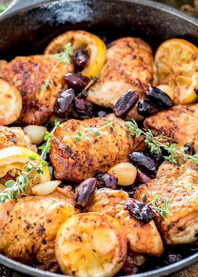 Skillet Chicken Thighs  Skillet Braised Greek Chicken Thighs Jo Cooks