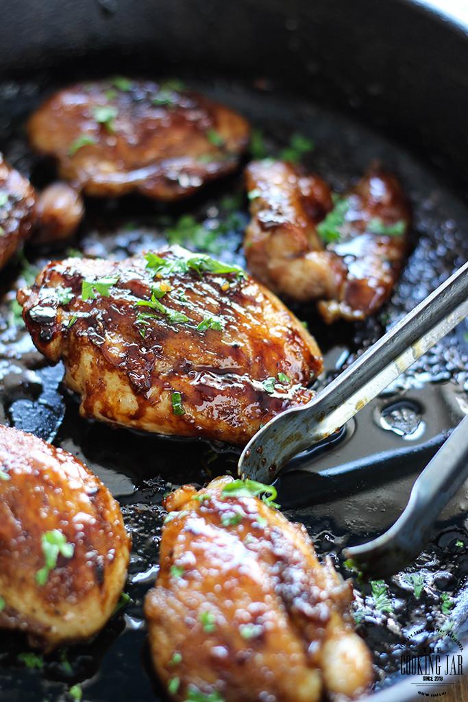 Skillet Chicken Thighs  Honey Garlic Chicken Skillet The Cooking Jar