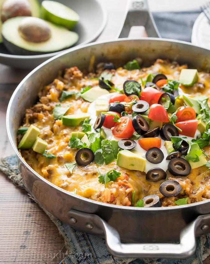 Skillet Dinner Recipes  meatballs and rice skillet dinner recipe