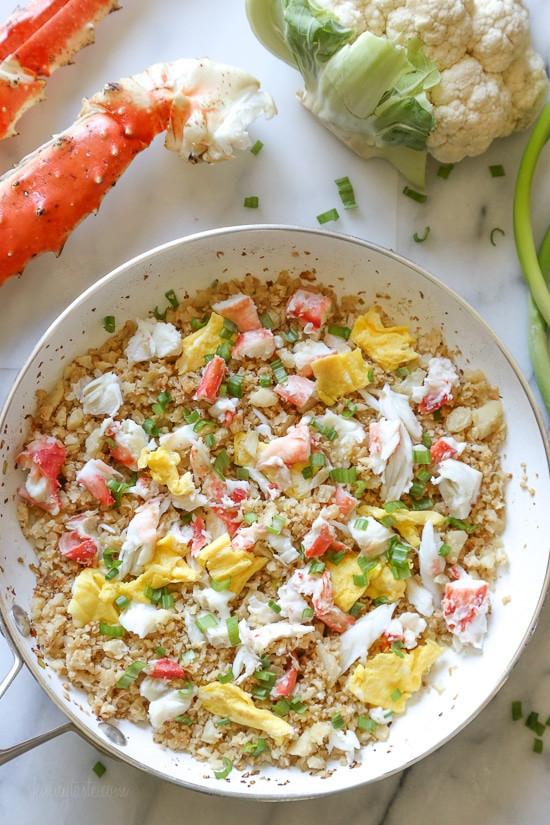 "Skinnytaste Cauliflower Fried Rice  King Crab Cauliflower Fried ""Rice"""