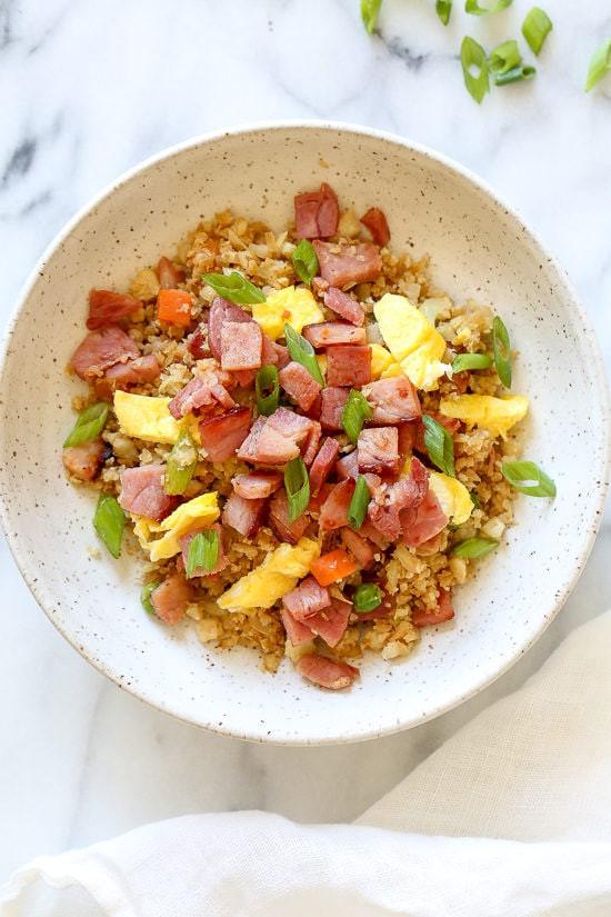 "Skinnytaste Cauliflower Fried Rice  Cauliflower Fried ""Rice"" with Leftover Ham"