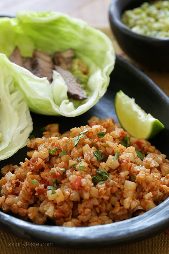 "Skinnytaste Cauliflower Fried Rice  Mexican Cauliflower ""Rice"""