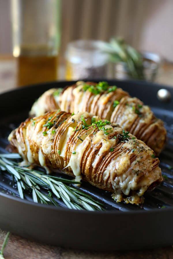 Sliced Baked Potato  Sliced Baked Potato Hasselback With Rosemary And Gruyere