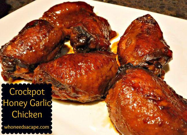 Slow Cooker Bbq Chicken Thighs Bone In  Crockpot Honey Garlic Chicken Who Needs A Cape