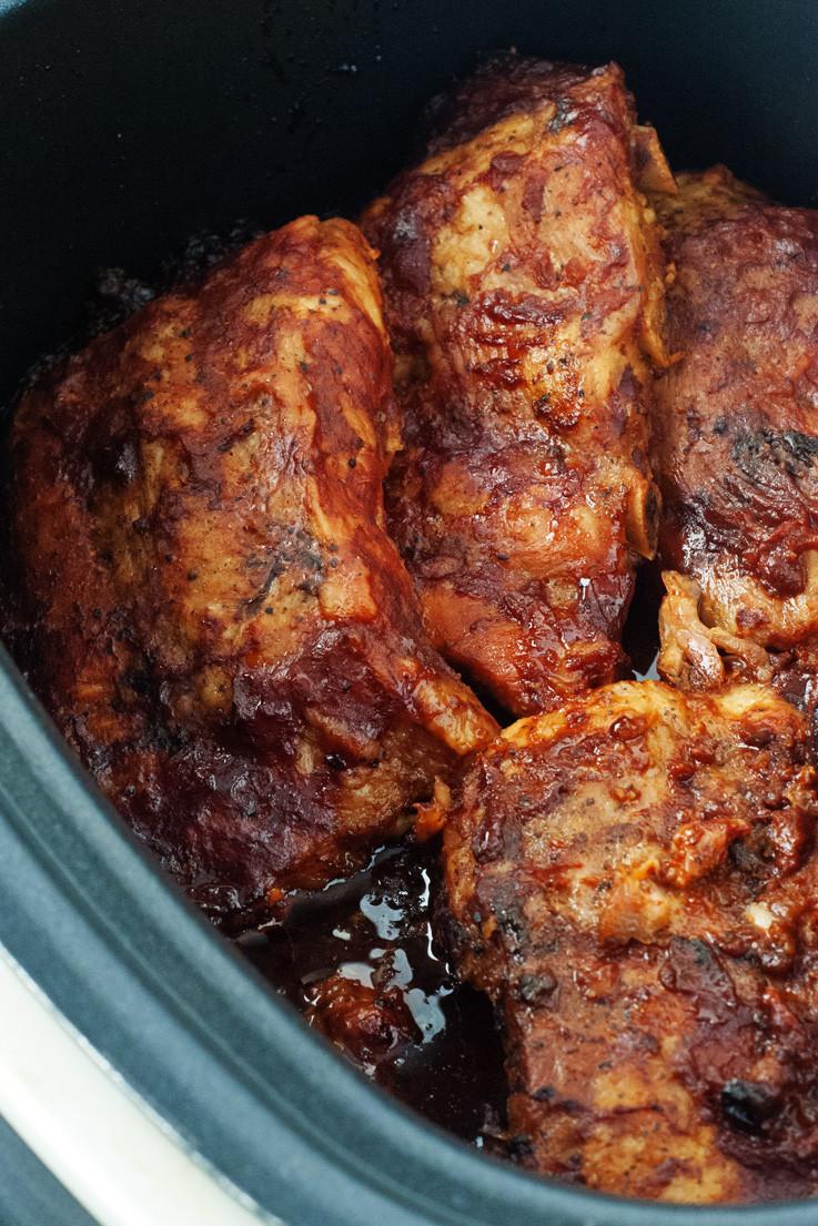 Slow Cooker Bbq Chicken Thighs Bone In  slow cooked bbq chicken thighs in oven