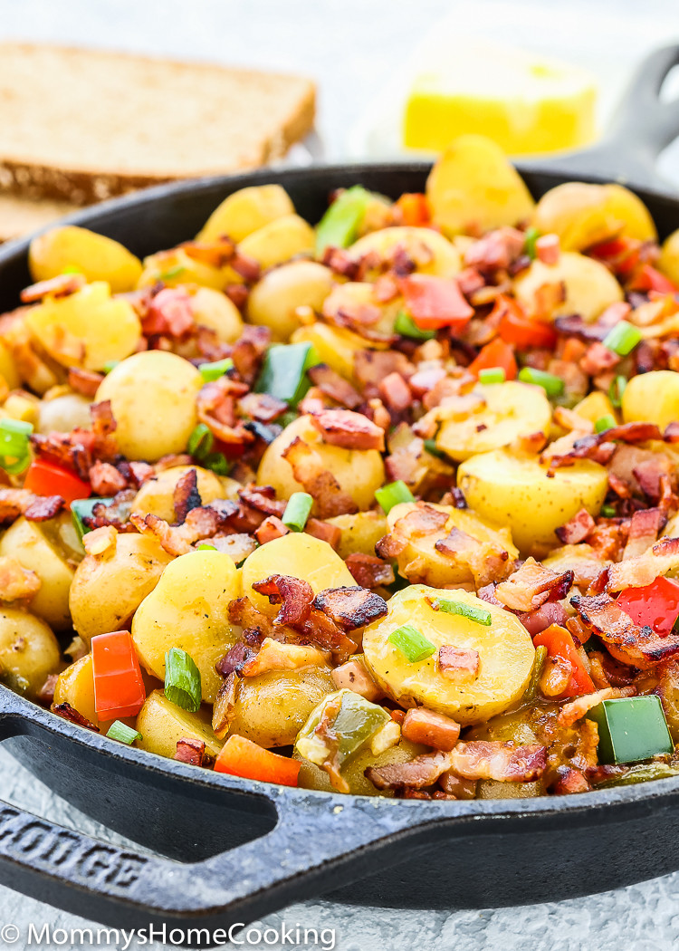 Slow Cooker Breakfast Potatoes  Slow Cooker Bacon and Ham Breakfast Potatoes Mommy s