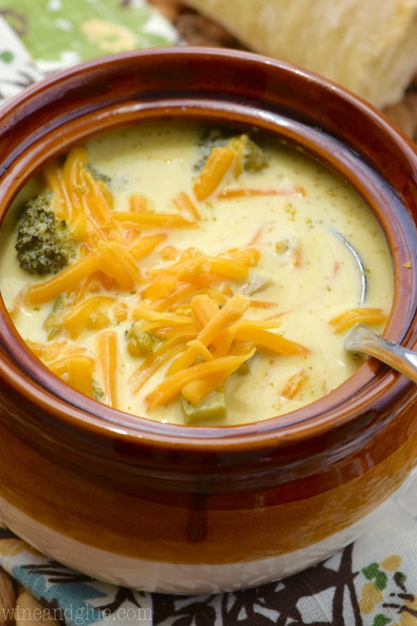Slow Cooker Broccoli Cheddar Soup  Slow Cooker Broccoli Cheddar Soup Wine & Glue