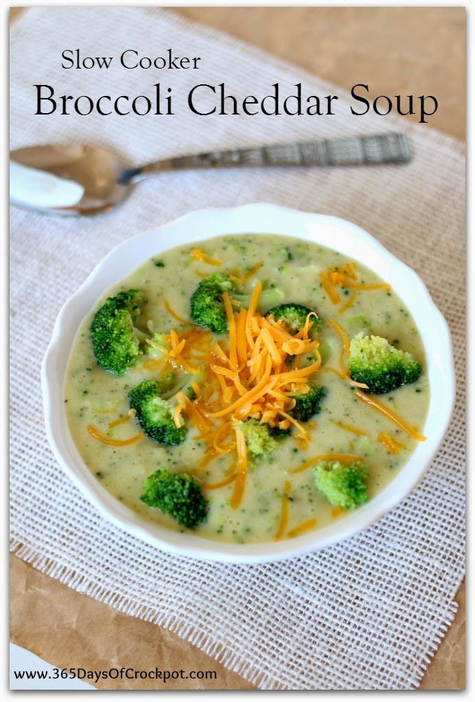Slow Cooker Broccoli Cheddar Soup  Slow Cooker Broccoli Cheddar Soup lightened up and gluten