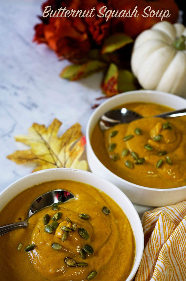 Slow Cooker Butternut Squash Soup  This soup is a celebration of beautiful fall flavors