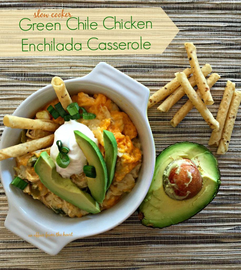 Slow Cooker Chicken Enchilada Casserole  Slow Cooker Green Chile Chicken Enchilada Casserole