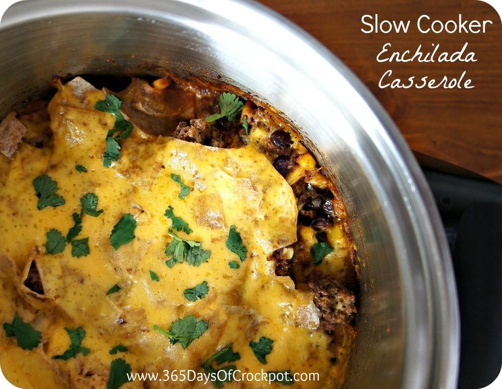 Slow Cooker Chicken Enchilada Casserole  Slow Cooker Mexican Enchilada Casserole