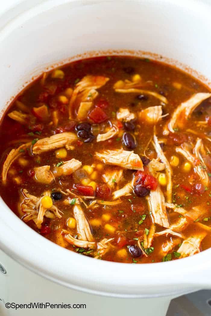 Slow Cooker Chicken Enchilada Soup  Hearty Slow Cooker Chicken Enchilada Soup Spend With Pennies
